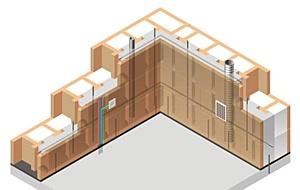 Фрагмент стены с инженерными коммуникациями.  Существует предубеждение против использования бетона в жилых домах.