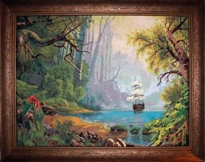 """Вышивка  """"Таинственный остров """", размер 400*300 крестиков, канва 16, мулине Гамма, 67 цветов.  Наша группа."""