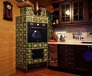 Большая электрическая печь на кухне, отделанная изразцами.  - Техника для дома - Барбекю Vitek - Персональный сайт.